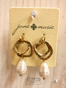Overlapping Gold and Pearl Earrings