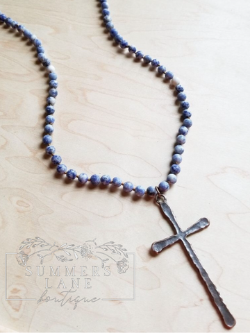 Frosted Blue Beads with Copper Cross