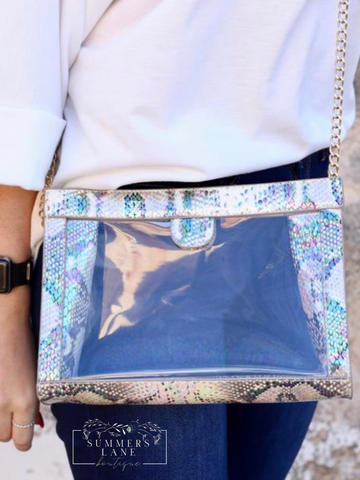 Miller Snap Clear Crossbody Snake Multi Hologram