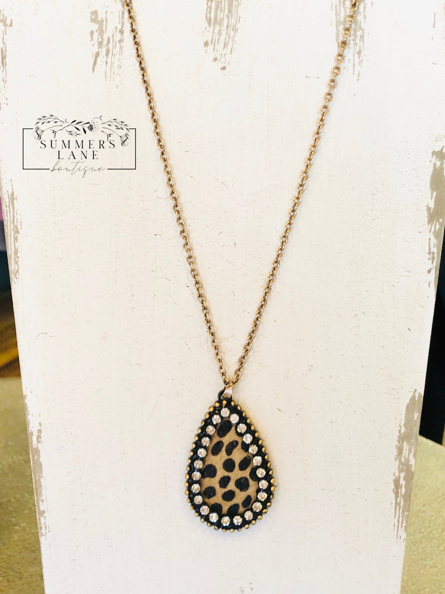 Leopard & Rhinestone Necklace