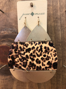 Gold & Leopard Teardrop Earrings