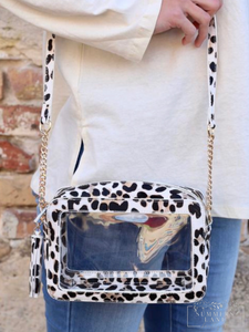 Rylee Rectangle Clear Bag Ivory Leopard