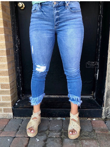 Gemma mid rise cropped frayed
