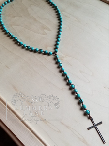 Turquoise Beaded Rosary Necklace