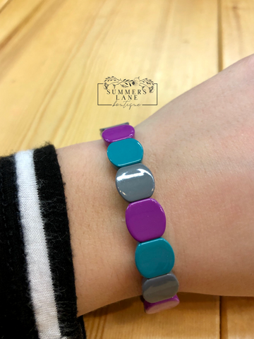Teal, Gray, and Purple Bracelet