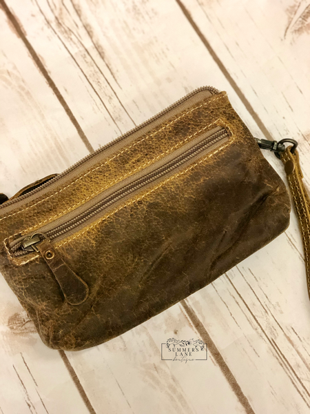Brown Orchestra Leather Wristlet