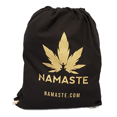 Namaste bag, cannabis leaf backpack, cannabis inspired bag
