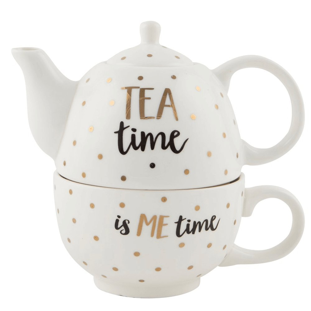 Sass and Belle Metallic Monochrome Tea Time Teapot For One