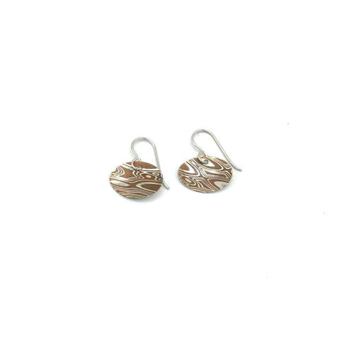 Small Oval Silver Mokume Earring
