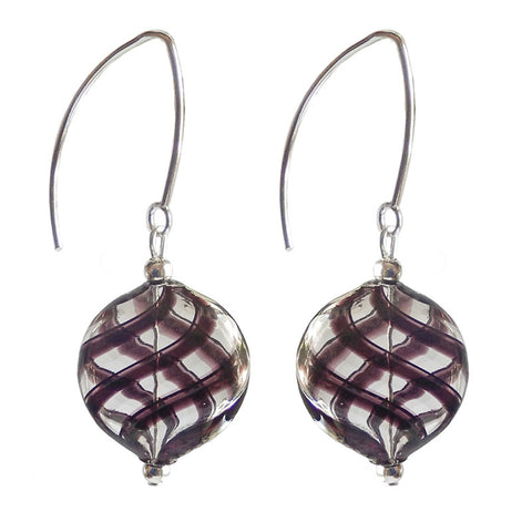 Uno Plaid Blown Glass Earring