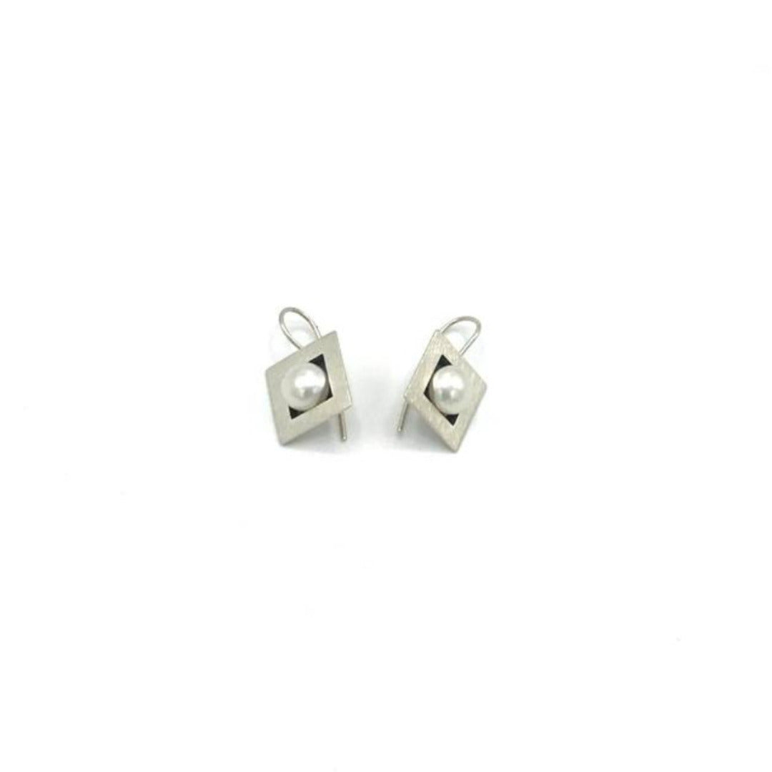 Square Pearl Sterling Silver Earring