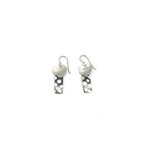 Silver Mokume Drop Earring