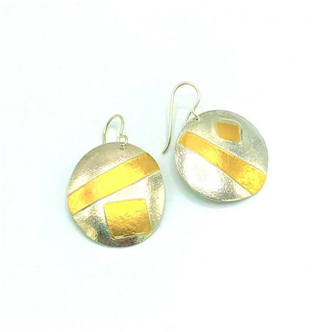 Mixed Metal Disk Earring