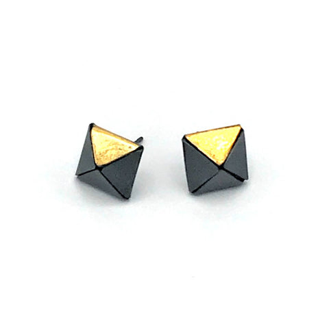 Square Oxidized Post Earring