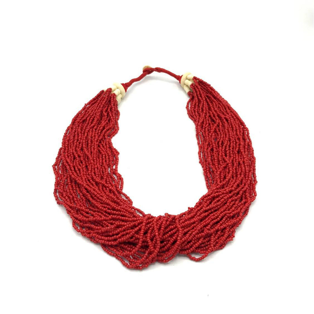 Red Glass Bead Multi Strand Necklace