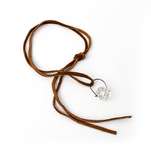 Faceted Crystal Suede Pendant