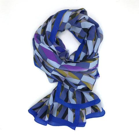 Blue Pattern Silk Scarf