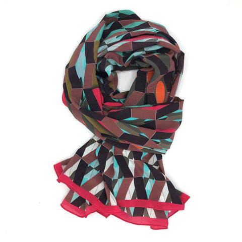 Red Pattern Silk Scarf