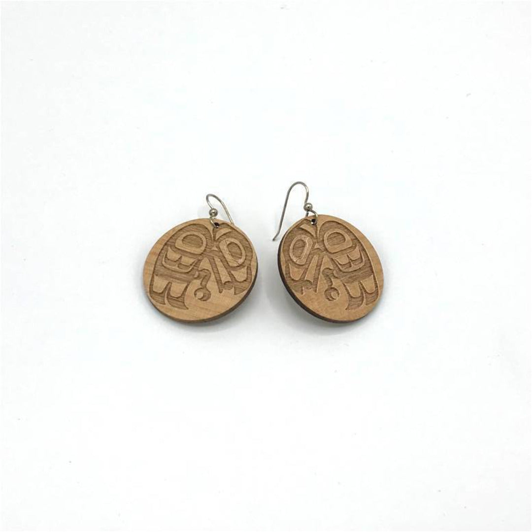Wood Raven Disk Earring
