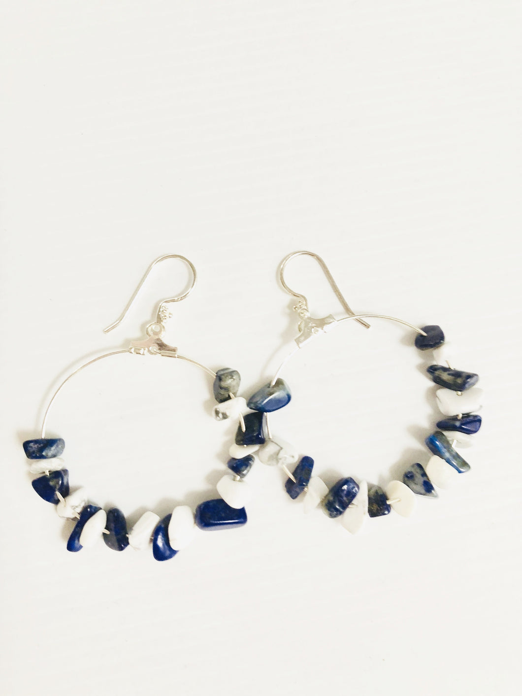 white howlite and Lapis Lazuli jewelerry earrings