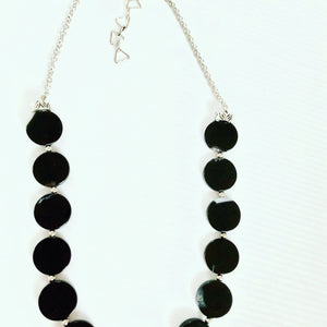 Agate black moon necklace