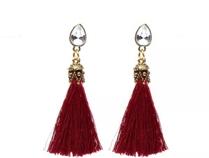 red and gold tassle earrings