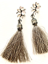 silver tassle and stone earrings