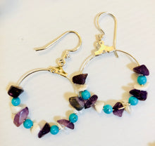 Stone and bead hoop earrings