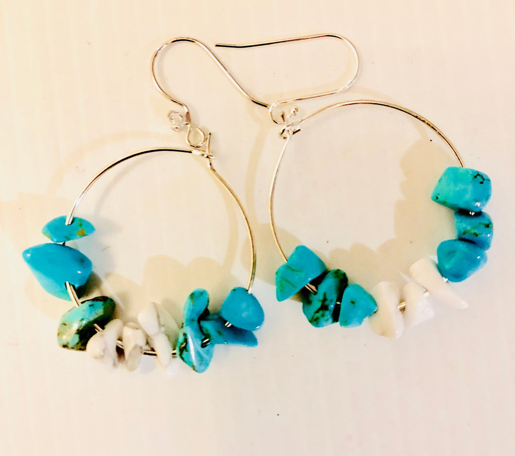blue and white howlite chips reminiscent earrings