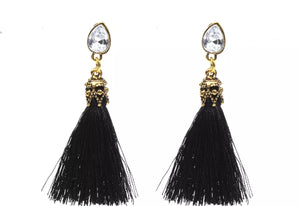 black and gold tassle earrings