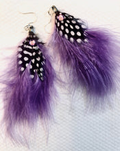 Purple haze boho feather earrings