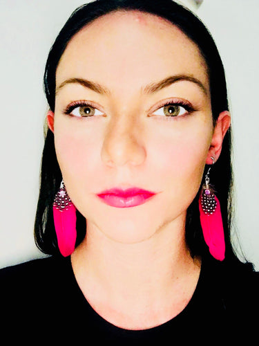 pink feather earrings boho style