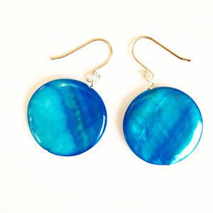 Blue moon glass earrings