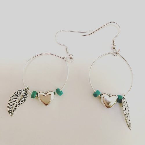 Boho hoop charm earrings