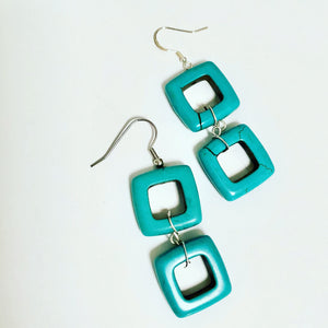 Double square geometric howlite earrings on sterling silver hooks