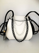 Black and white chain bag