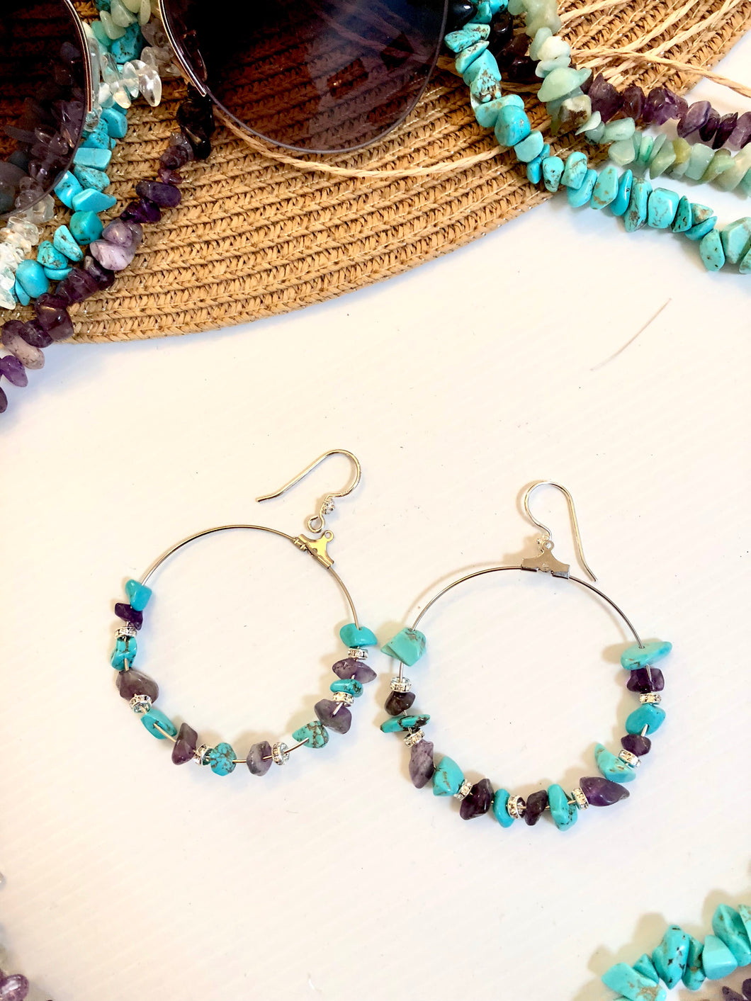 amethyst and howlite chips jewellery earrings
