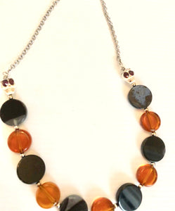 Agate and glass necklace