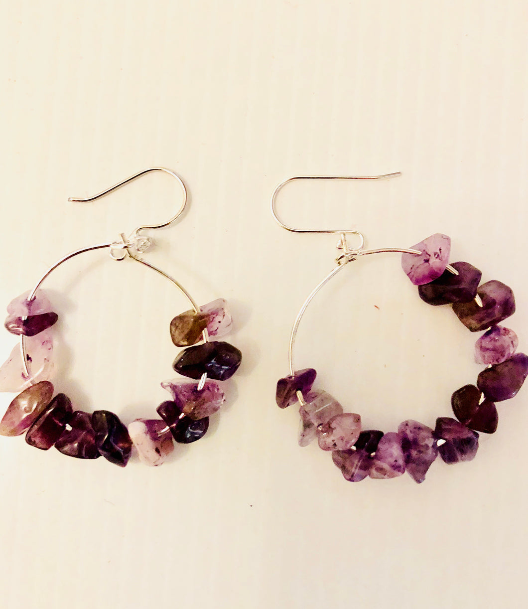 hoop earrings with amethyst chips and sterling silver hooks