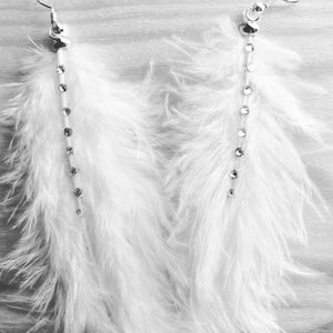 White feather earrings perfect for the boho bride