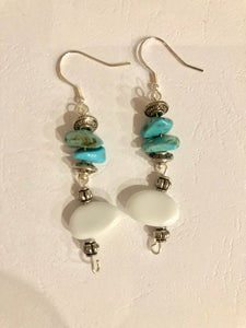Boho earrings, turquoise coloured chips and white stone