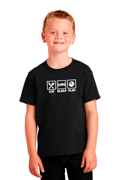 Eat Sleep Play Pool Youth Cotton Tee - BODIEWEAR
