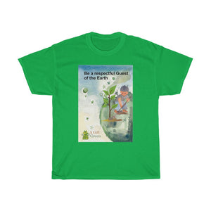 "Eco Tee - ""Guest of the Earth""  green quote Unisex designer T-Shirts, Men cotton tee, women round neck printed tshirt colours"