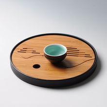 Bamboo Kung Fu Tea Tray Set Plastic Drainage water storage, round and square shape