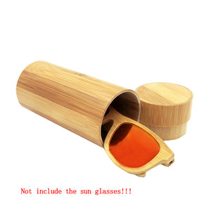 Bamboo Sunglasses Case Fashion Round Eyeglasses Tube Spectacle Box
