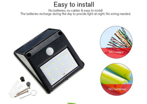 Solar Light LED Light Waterproof 12 LED PIR Motion Sensor Garden Lamp Outdoor Pathway Wall