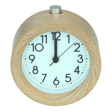 Wooden Alarm Clock Circular No Ticking Snooze Backlight Digital Clock Desktop Table Clocks