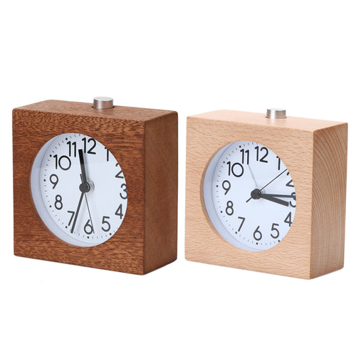 Wooden Alarm Clock 2 Colors Square Snooze Circular Modern Europe Needle Quartz Antique Wood