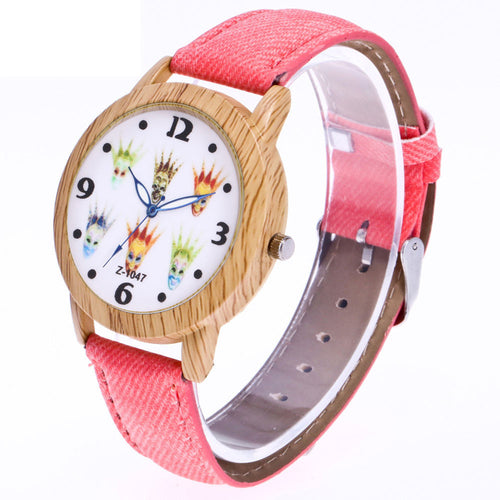 Wooden Watch Lovers Watch Women Men Wooden Colorful Dail Wristwatch Analog Quartz Bracelet Genvivia Brand