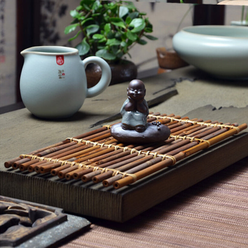 Bamboo KongFu Tea Set 40x42cm Cup coasters Pot Pad Table Mat Placemats Vintage Bamboo Handmade